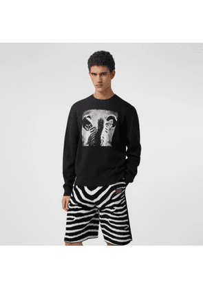 Burberry Zebra Wool Jacquard Sweater, Black
