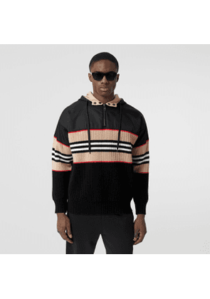 Burberry Icon Stripe Rib Knit Wool Cashmere Hoodie