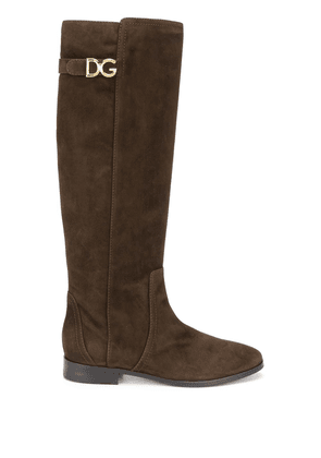 Dolce & Gabbana knee-length suede boots - Brown