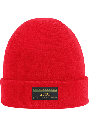 Gucci logo patch beanie hat - Red