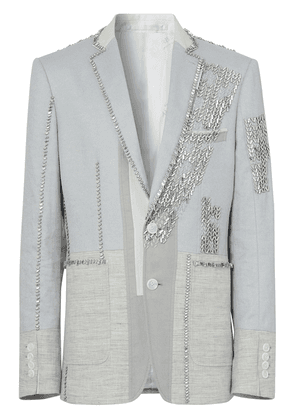 Burberry crystal-embroidered english fit jacket - Grey