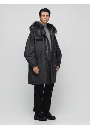 Oversized Wool Blend Parka Coat