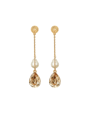 Baroque-pearl and crystal drop earrings