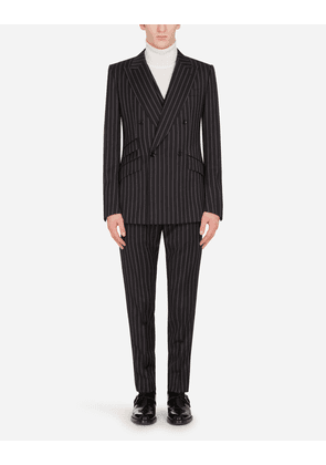 Dolce & Gabbana Suits - DOUBLE-BREASTED SICILIA-FIT SUIT IN PINSTRIPE WOOL BLACK male 48