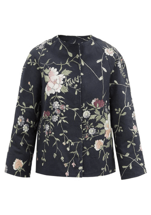 By Walid - Ilana Upcycled Floral-jacquard Cotton Jacket - Womens - Black Multi
