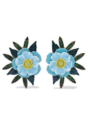 Elizabeth Cole Phoenix 24-karat Gold-plated, Swarovski Crystal And Enamel Earrings Woman Light blue Size --