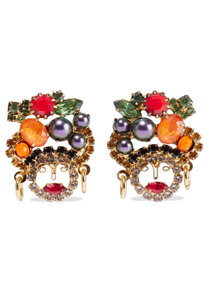 Elizabeth Cole Chiqui 24-karat Gold-plated, Crystal And Swarovski Pearl Earrings Woman Multicolor Size --