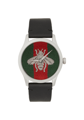 Gucci Black G-Timeless Web Bee Watch