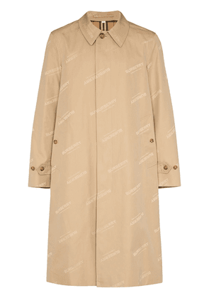 Burberry logo-jacquard single-breasted coat - Neutrals