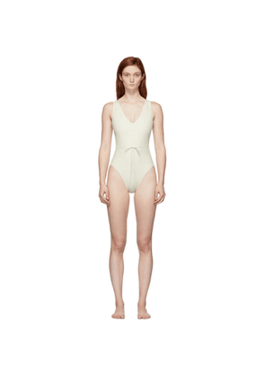Solid and Striped Off-White The Michelle One-Piece Swimsuit