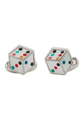 Paul Smith Silver and Multicolor Dice Cufflinks