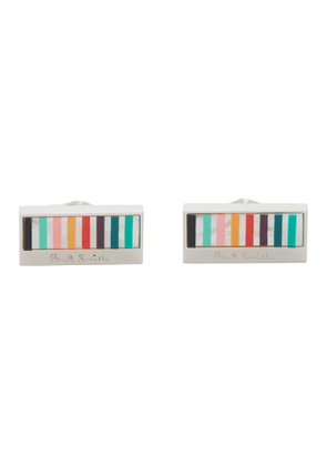 Paul Smith Silver and Multicolor Logo Cufflinks