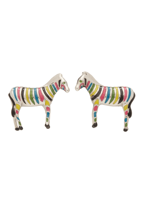 PS by Paul Smith Silver and Multicolor Zebra Cufflinks