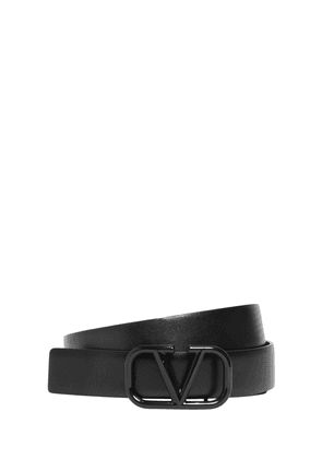 30mm Leather Belt W/ V-logo Buckle