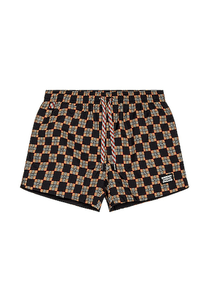 Burberry Greenford Swim Short in Beige - Black,Plaid. Size L (also in M,XL).