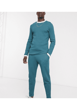 ASOS DESIGN co-ord Tall tapered joggers in deep green waffle with contrast waistband