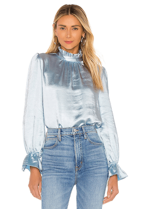 Cynthia Rowley Ruffle Neck Bell Sleeve Top in Blue. Size 4.