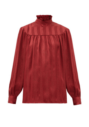 Saint Laurent - Polka-dot Self-striped Silk-satin Blouse - Womens - Red