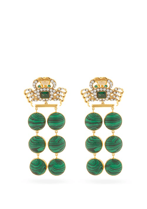 Begum Khan - Il Granchio Barbados 24kt Gold-plated Earrings - Womens - Emerald