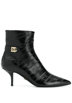 Dolce & Gabbana point-toe leather ankle boots - Black
