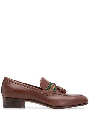 Gucci Web and Interlocking G almond-toe loafers - Brown