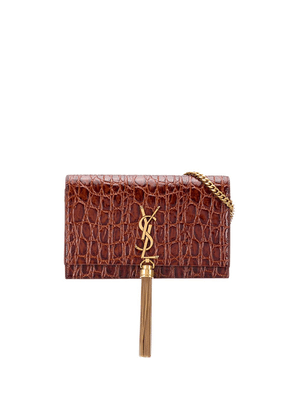 Saint Laurent crocodile effect cross-body bag - Brown