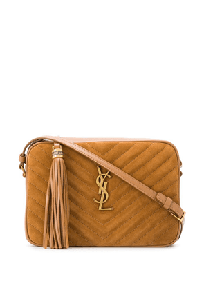 Saint Laurent logo plaque cross body bag - Brown