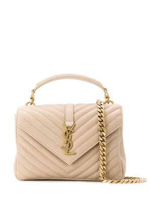 Saint Laurent quilted cross-body bag with logo lettering - Neutrals