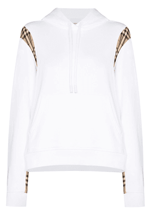 Burberry Vintage check panelled hoodie - White