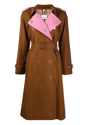 Burberry gabardine trench coat - Brown