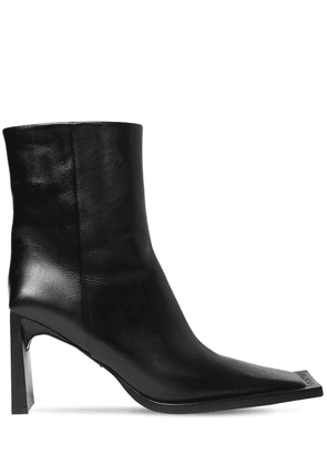 90mm Flat Leather Ankle Boots