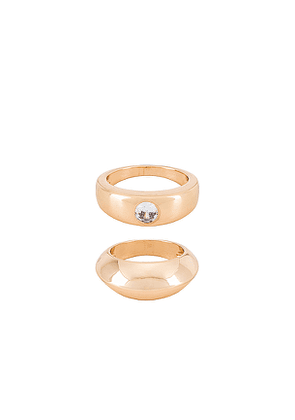 Ettika Double Ring Set with Crystal Accent in Metallic Gold. Size 6,7,8.