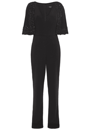 Badgley Mischka Layered Embellished Lace-trimmed Stretch-cady Jumpsuit Woman Black Size 8