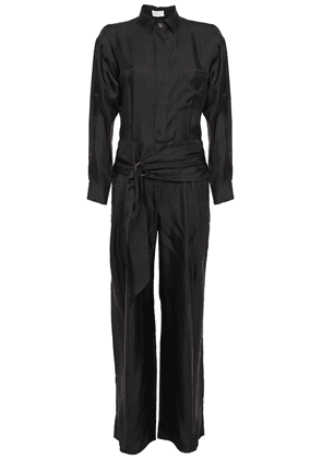 Brunello Cucinelli Cutout Bead-embellished Silk-twill Jumpsuit Woman Black Size M