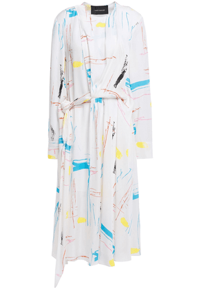 Cedric Charlier Twisted Printed Crepe Dress Woman White Size 46
