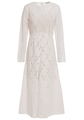 Goen.j Leavers Lace And Broderie Anglaise Velvet Midi Dress Woman Ivory Size M