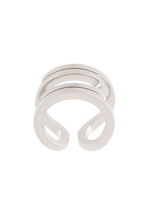 Off-White logo-engraved ring - SILVER