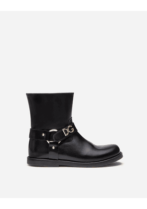 Dolce & Gabbana Shoes (24-38) - CALFSKIN ANKLE BOOTS WITH LETTERING BLACK