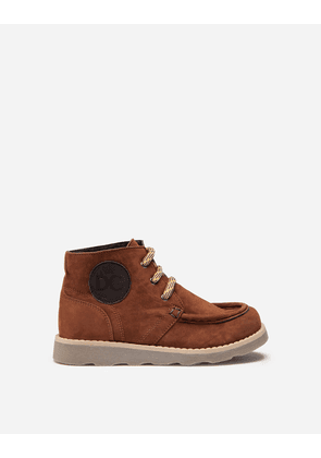 Dolce & Gabbana Shoes (24-38) - SUEDE ANKLE BOOTS WITH BRANDED PATCH BROWN
