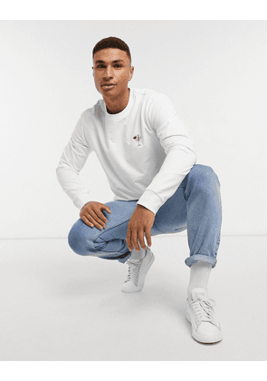 Only & Sons embroidered sweatshirt in white