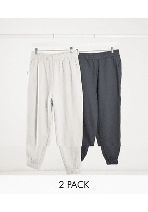 ASOS DESIGN organic oversized cropped joggers 2 pack in charcoal grey/light grey-Multi