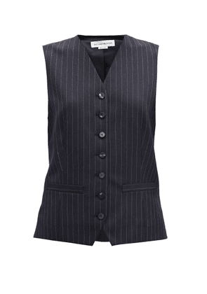 Victoria Beckham - Single-breasted Pinstriped Wool Waistcoat - Womens - Navy Multi