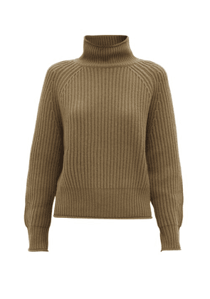 Allude - Roll-neck Ribbed Cashmere Sweater - Womens - Khaki