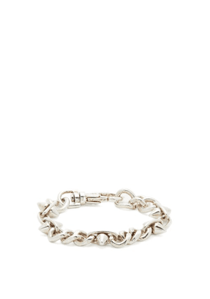 Martine Ali - Curb Spike Silver-pleated Bracelet - Mens - Silver