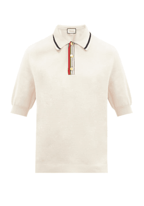 Gucci - Web-striped Placket Knitted-cotton Polo Shirt - Mens - White