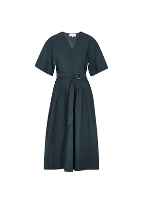 3.1 Phillip Lim Teal Belted Faille Midi Dress