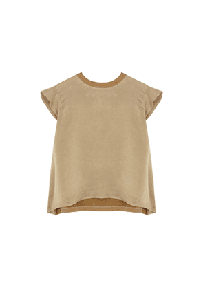 Clu Taupe Cotton And Brushed Silk Top