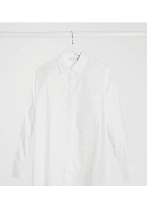 ASOS DESIGN Maternity long sleeve boyfriend shirt in cotton in white