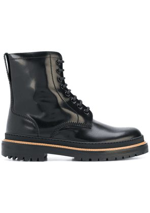 Burberry Lace-up Polished Leather Boots - Black