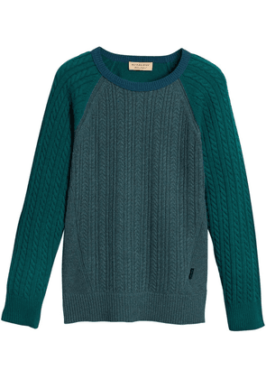 Burberry cashmere two-tone cable knit sweater - Green